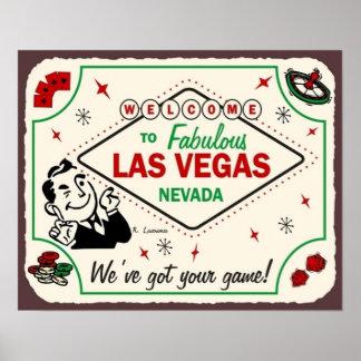 Las Vegas Games Vintage Art Game Room Poker Poster