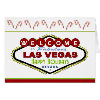 Las Vegas Happy Holidays Candy Cane Card