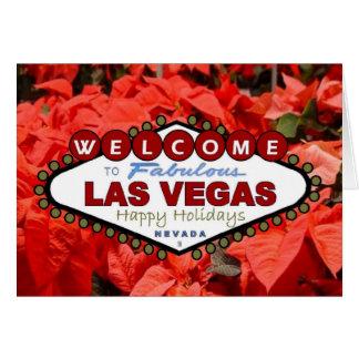 Las Vegas Happy Holidays Poinsettias Card