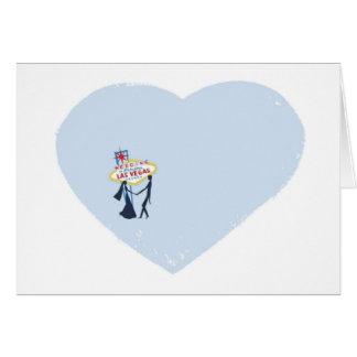 Las Vegas Heart Shape Wedding with Bride & Groom C Greeting Card