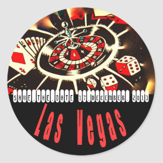 Las Vegas Icons Wedding Plans Round Sticker