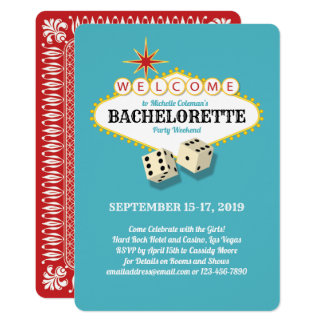 Las Vegas Marquee Bachelorette Party Teal Card