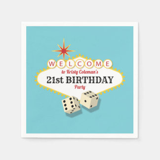 Las Vegas Marquee Birthday Party with Age Paper Napkins