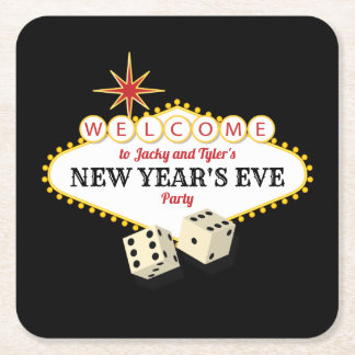 Las Vegas Marquee New Years Eve Party Square Paper Coaster