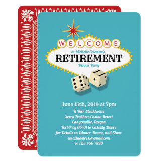 Las Vegas Marquee Retirement Party Teal Card