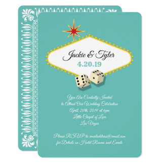 Las Vegas Marquee Wedding in Aqua Card