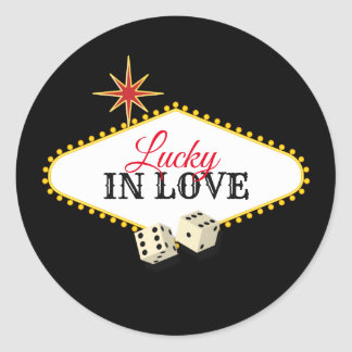 Las Vegas Marquee Wedding in Black Classic Round Sticker