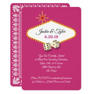 Las Vegas Marquee Wedding in Magenta Card