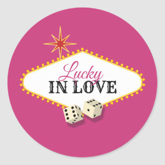 Las Vegas Marquee Wedding in Magenta Classic Round Sticker
