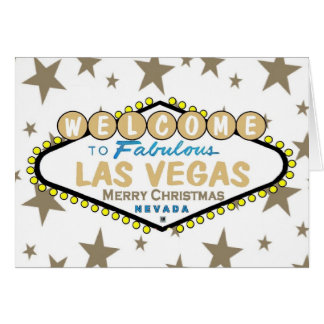 Las Vegas Merry Christmas Gold Stars Card
