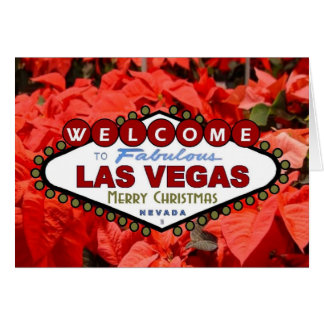 Las Vegas Merry Christmas Poinsettias Card