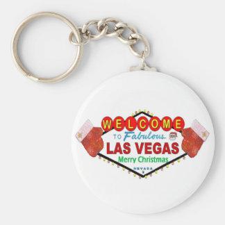 Las Vegas Merry Christmas Santa and Mittens Keycha Key Chain