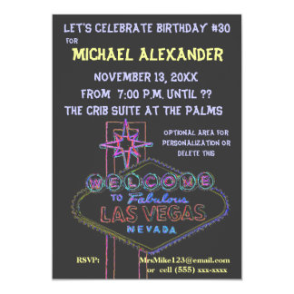 Las Vegas Neon Sign Birthday Bash Card