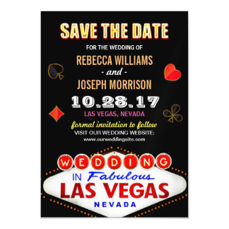 Las Vegas Neon Sign - Save the Date Wedding Magnetic Invitations