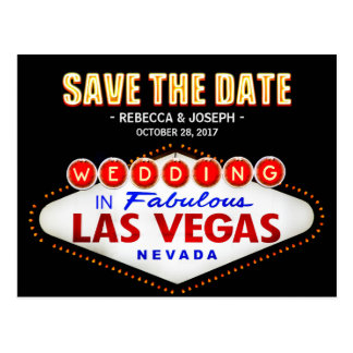 Las Vegas Neon Sign - Save the Date Wedding Postcard