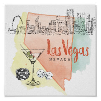 Las Vegas, Nevada | Watercolor Sketch Image Poster