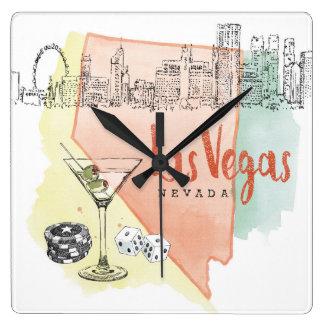 Las Vegas, Nevada | Watercolor Sketch Image Square Wall Clock