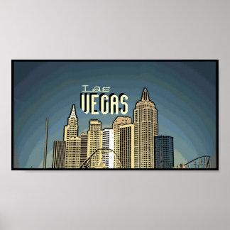 Las Vegas New York hotel view artsy poster