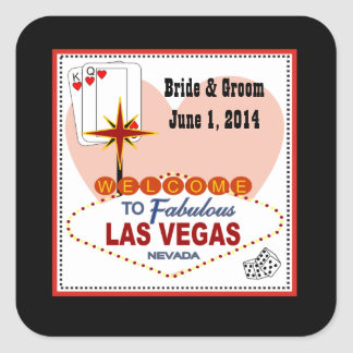 Las Vegas Pair of Hearts Wedding Stickers
