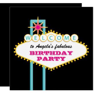 Las Vegas Party Pink Sign Card