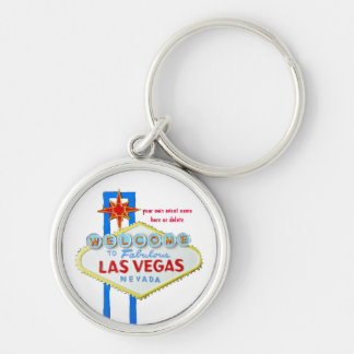 Las Vegas Personalized Event Silver-Colored Round Key Ring