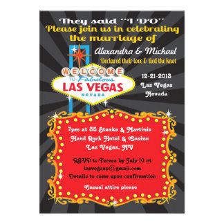 Las Vegas Post Wedding Reception Invitations