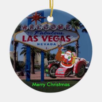 Las Vegas Santa & Reindeer on Bike Ornament