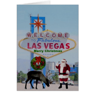 Las Vegas Santa &  Rudolph  Merry Christmas Card