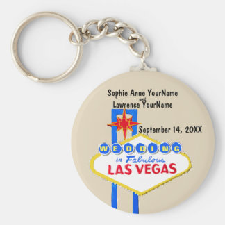 Las Vegas Save the Date Invitation Basic Round Button Key Ring