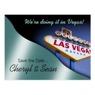 Las Vegas Save The Date (metallic aqua) Postcards
