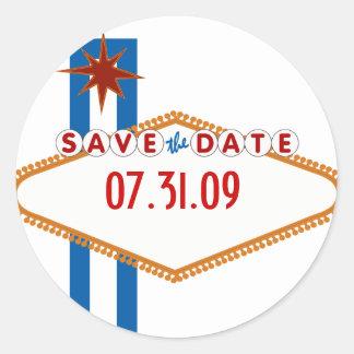 Las Vegas Save the Date Round Sticker