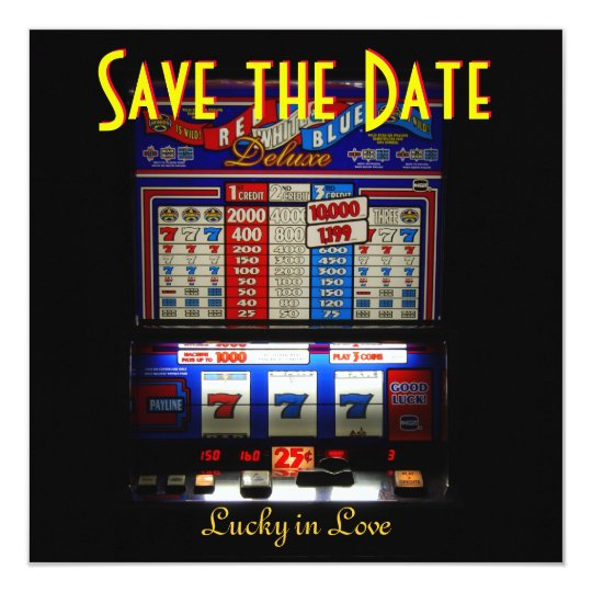 Las Vegas Save the Date Slot Machine Card