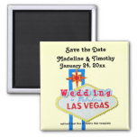 Las Vegas Save the Date Wedding Neon Sign Square Magnet