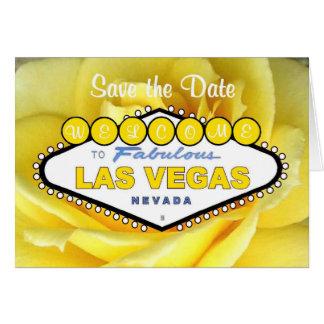 Las Vegas Save the Date Yellow Rose Card
