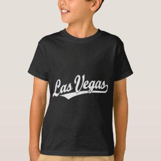 Las Vegas script logo in white distressed T-Shirt