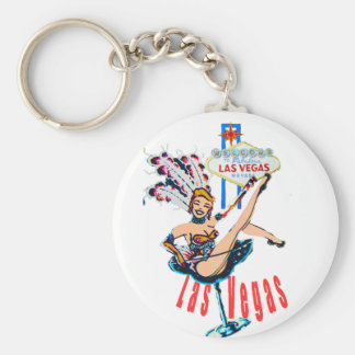 Las Vegas Sign and Casino Showgirl Key Ring