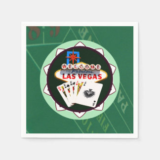 Las Vegas Sign And Two Kings Poker Chip Paper Serviettes