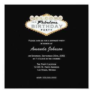 "Las Vegas Sign Birthday Party Invitation 5.25"" Square Invitation Card"