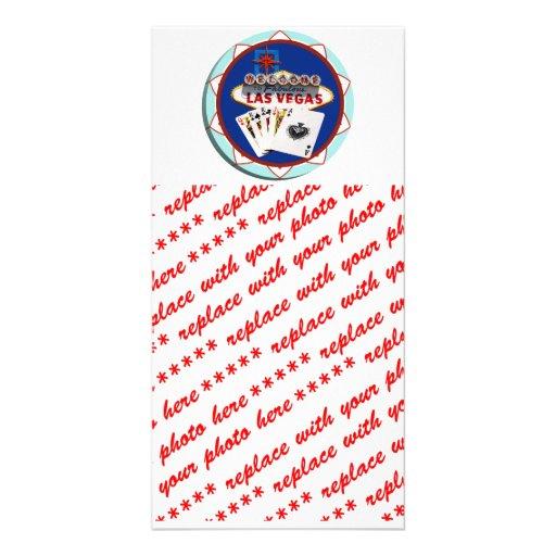 Las Vegas Sign & Cards Poker Chip Customized Photo Card