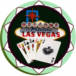 Las Vegas Sign & Cards Poker Chip Standing Photo Sculpture