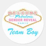 Las Vegas Sign Gender Reveal Team Boy Stickers