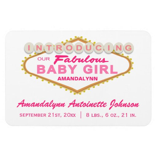 Las Vegas Sign Girl Birth Announcement Magnet