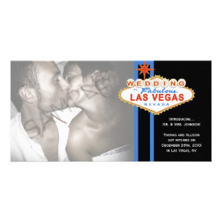 Las Vegas Sign Photo Wedding Marriage Announcement Personalized Photo Card