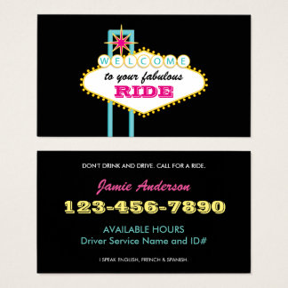 Las Vegas Sign Professional Driver Business Card