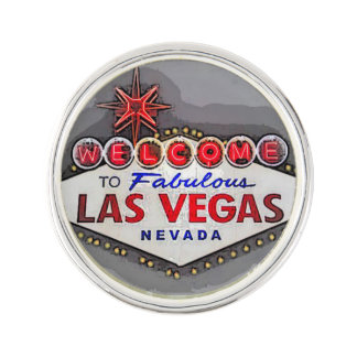Las Vegas Sign silver gray Lapel Pin