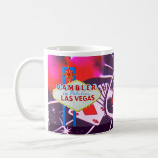 Las Vegas Sign with Casino Dice and Roulette Mug