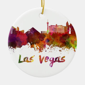 Las Vegas skyline in watercolor Ceramic Ornament