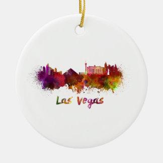 Las Vegas skyline in watercolor Ceramic Ornament