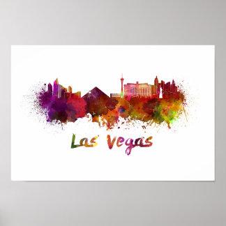 Las Vegas skyline in watercolor Poster