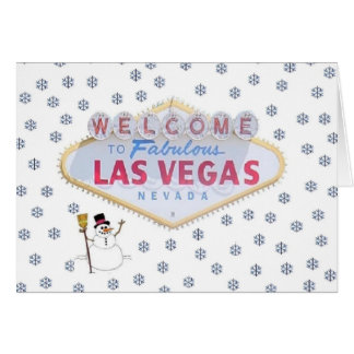 Las Vegas Snowman Christmas Card